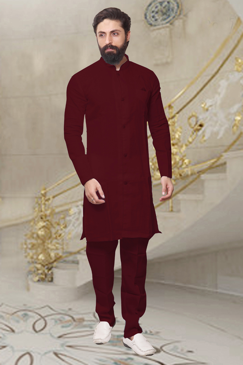 Banarasi Silk Fabric Maroon Color Function Wear Kurta Pyjama For Men