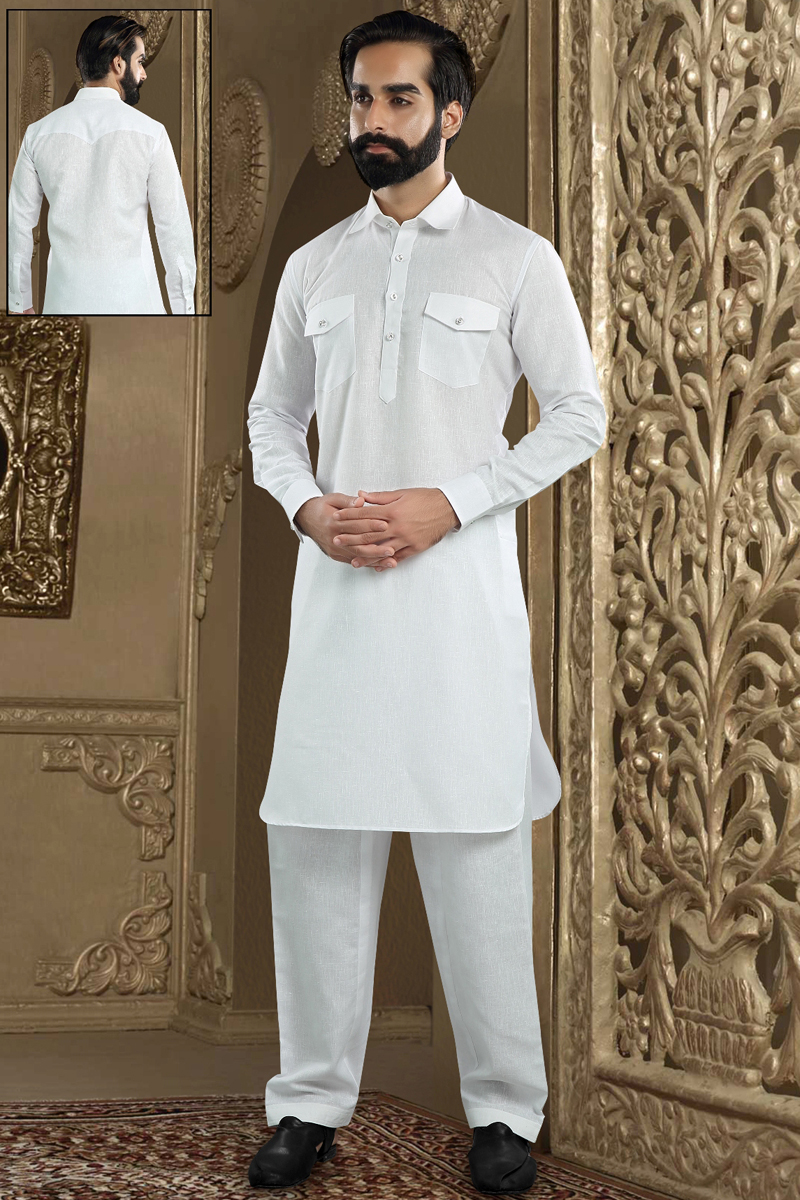 Function Wear Banarasi Silk Fabric Kurta Pyjama In White Color For Men