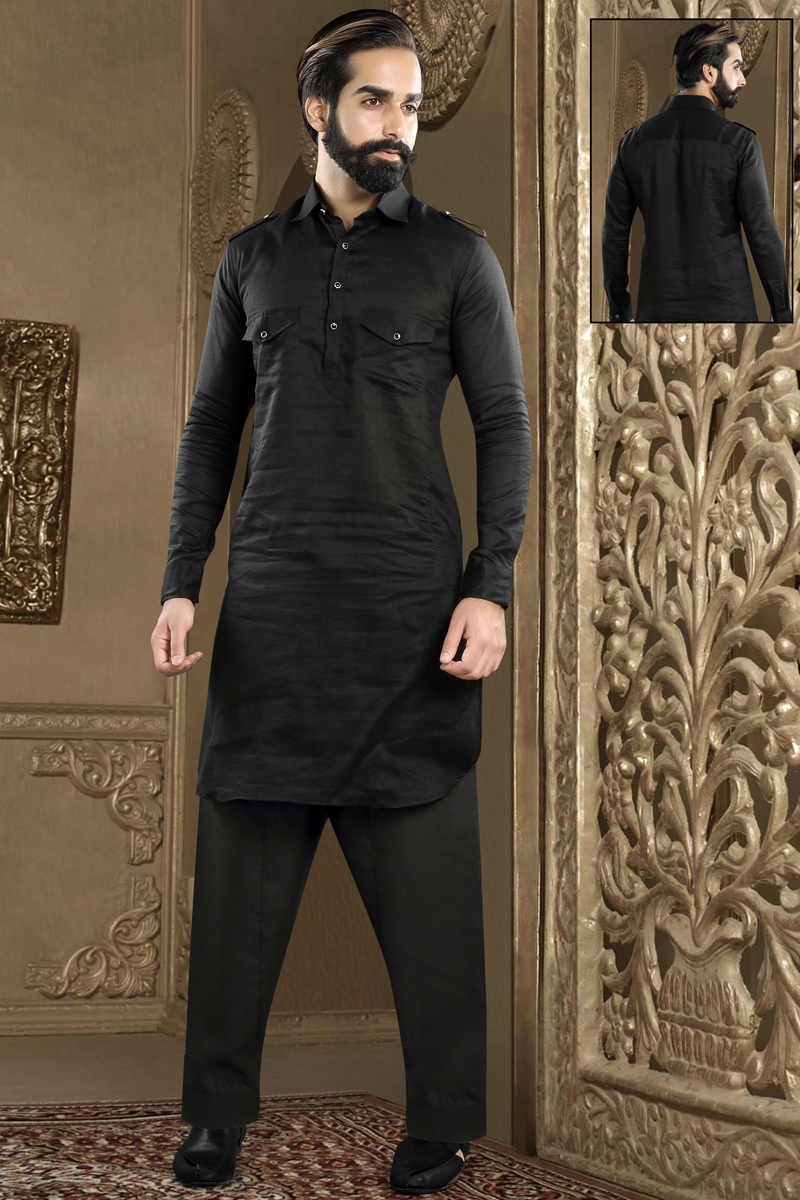 Mens Function Wear Banarasi Silk Fabric Black Color Kurta Pyjama