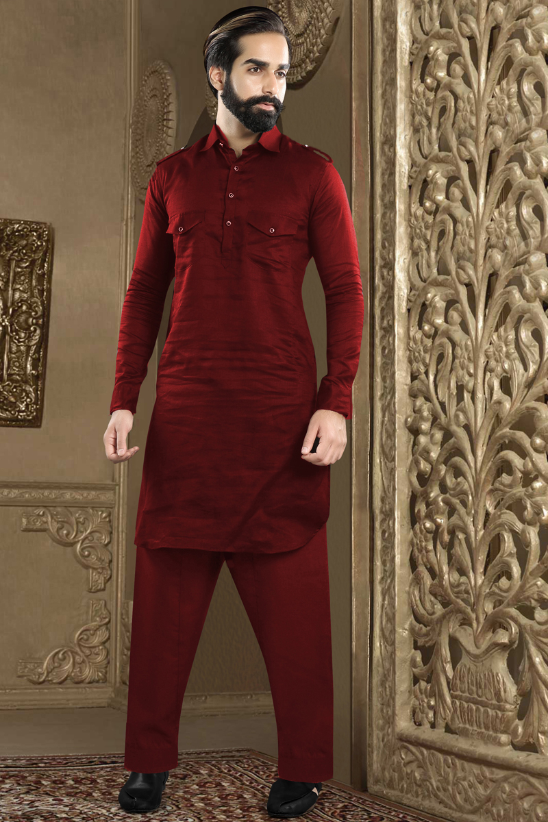 Maroon Color Banarasi Silk Fabric Function Wear Fancy Kurta Pyjama