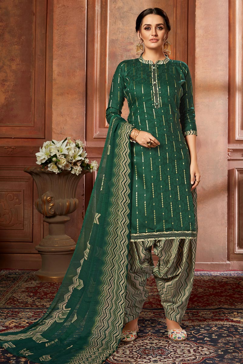 Casual Wear Jacquard Fabric Fancy Printed Patiala Dress In Dark Green Color