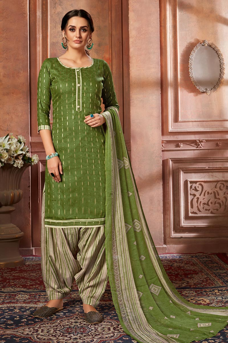 Fancy Jacquard Fabric Casual Wear Printed Green Color Patiala Suit