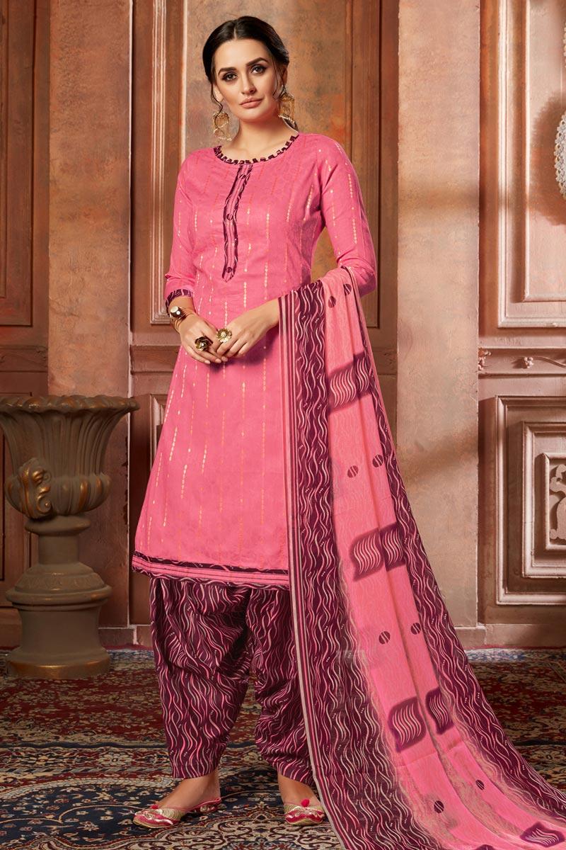Jacquard Fabric Casual Wear Fancy Printed Pink Color Patiala Dress