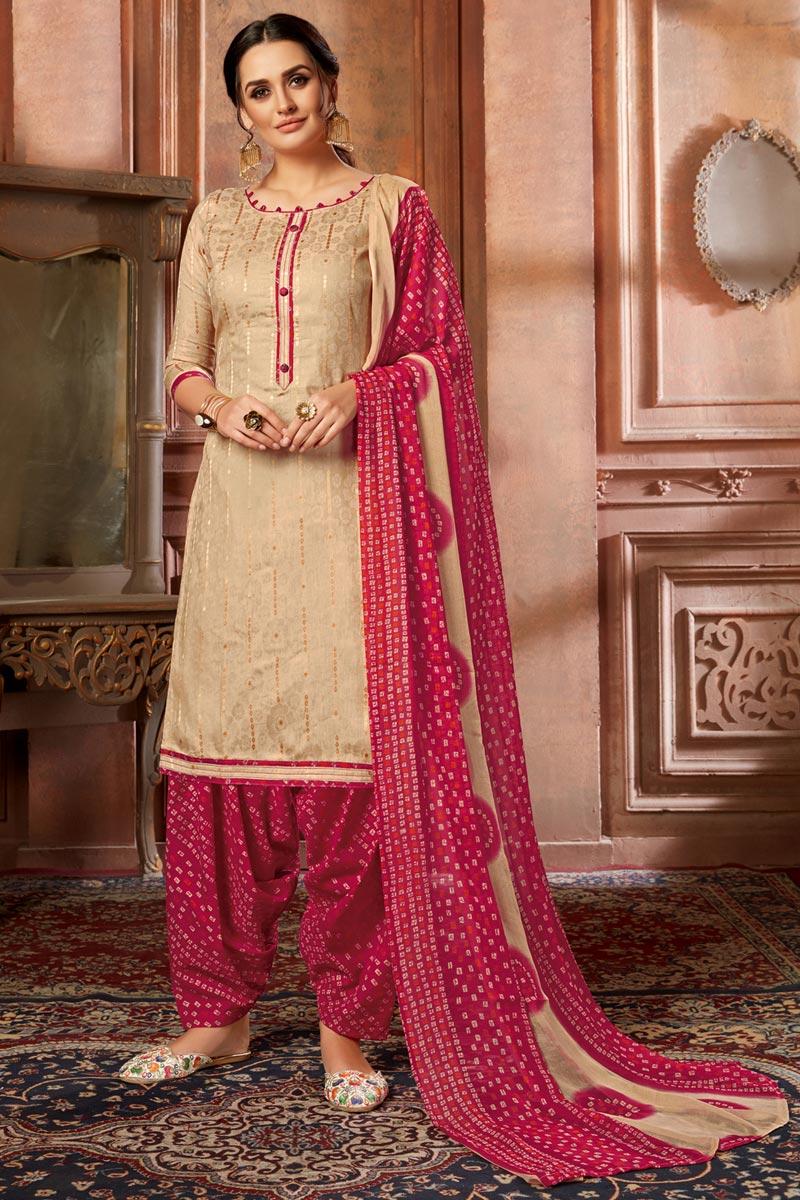 Fancy Cream Color Casual Wear Jacquard Fabric Printed Patiala Suit