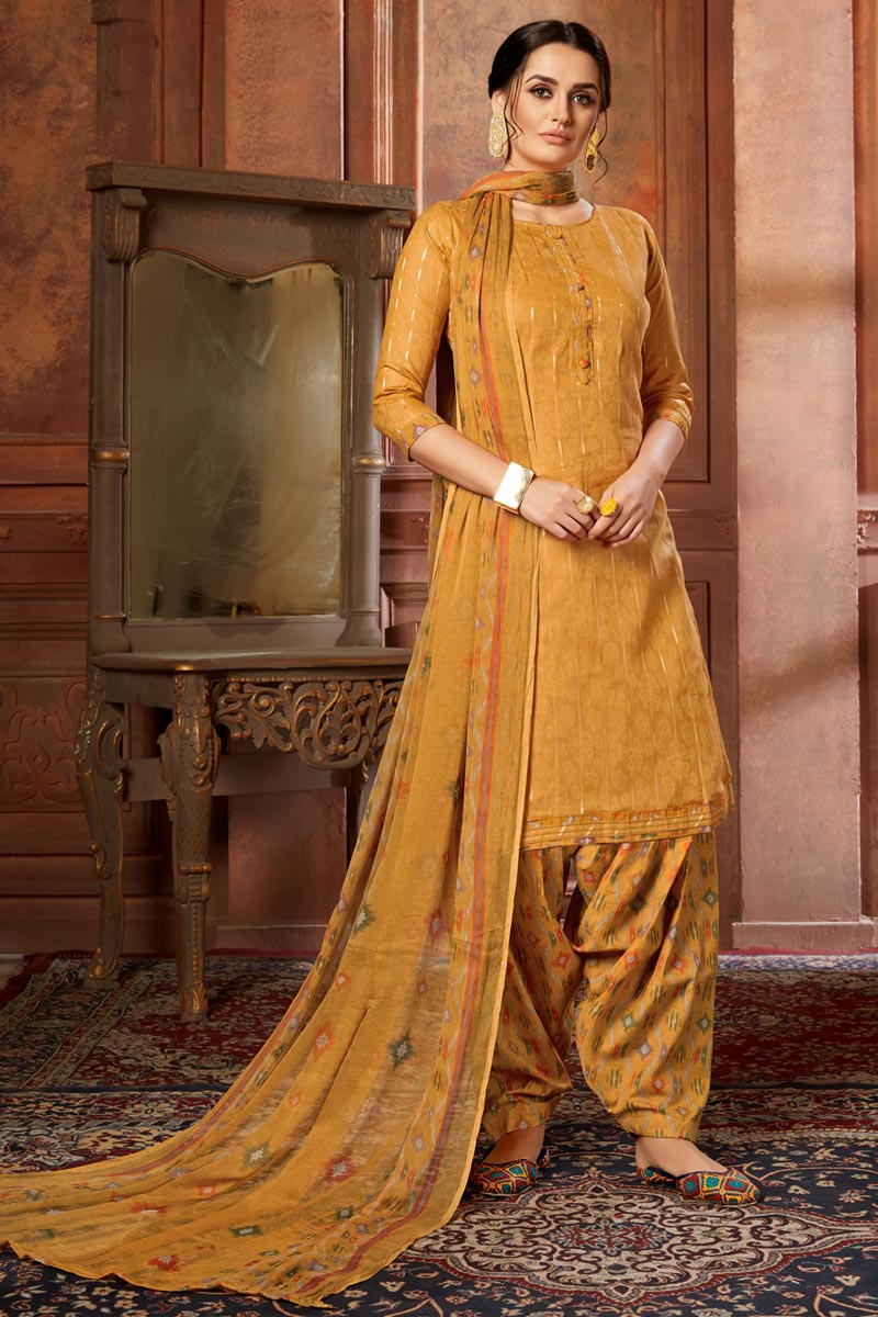Jacquard Fabric Mustard Color Casual Wear Fancy Printed Patiala Dress