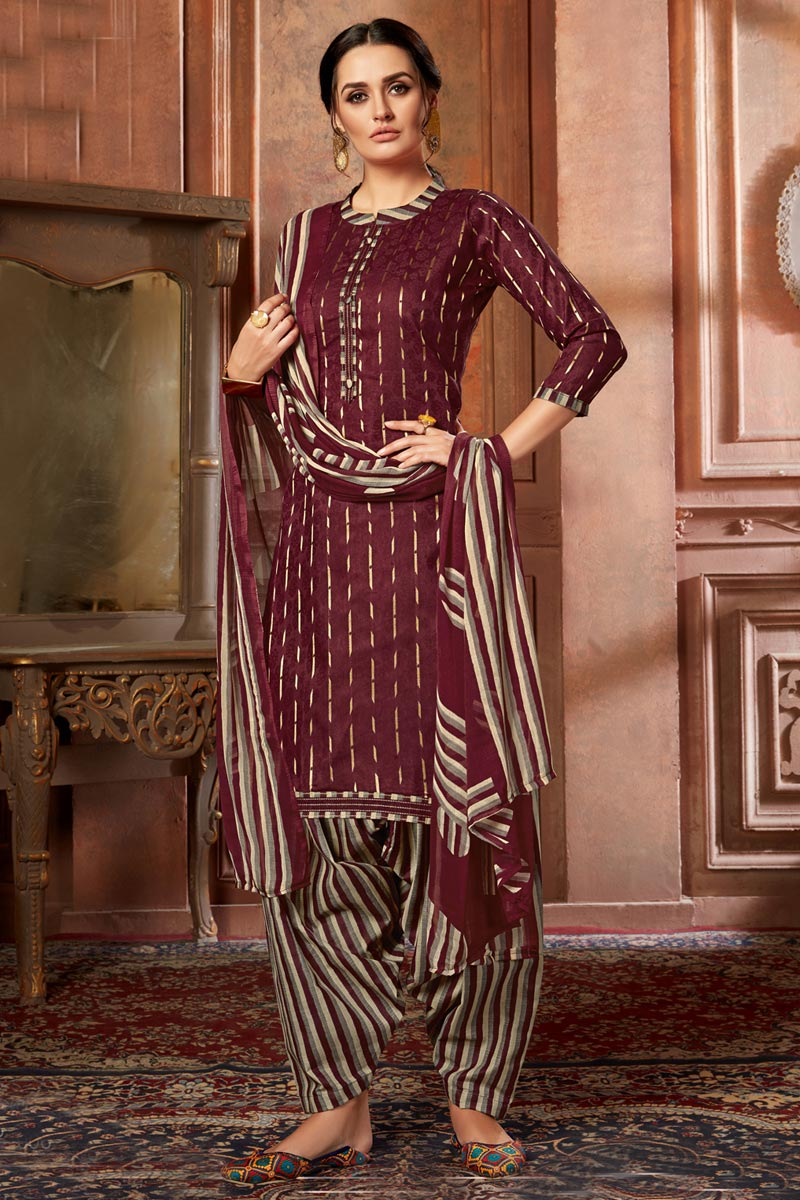 Fancy Casual Wear Jacquard Fabric Maroon Color Printed Patiala Suit