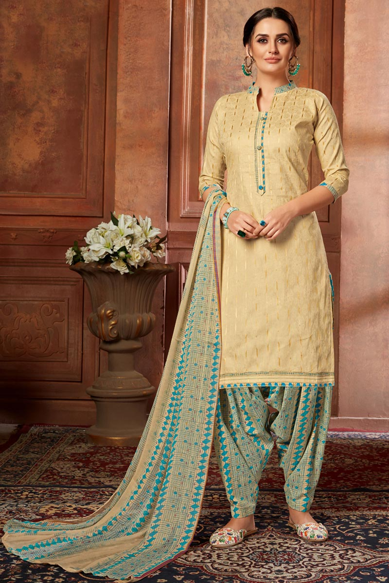 Casual Wear Beige Color Fancy Printed Patiala Dress In Jacquard Fabric