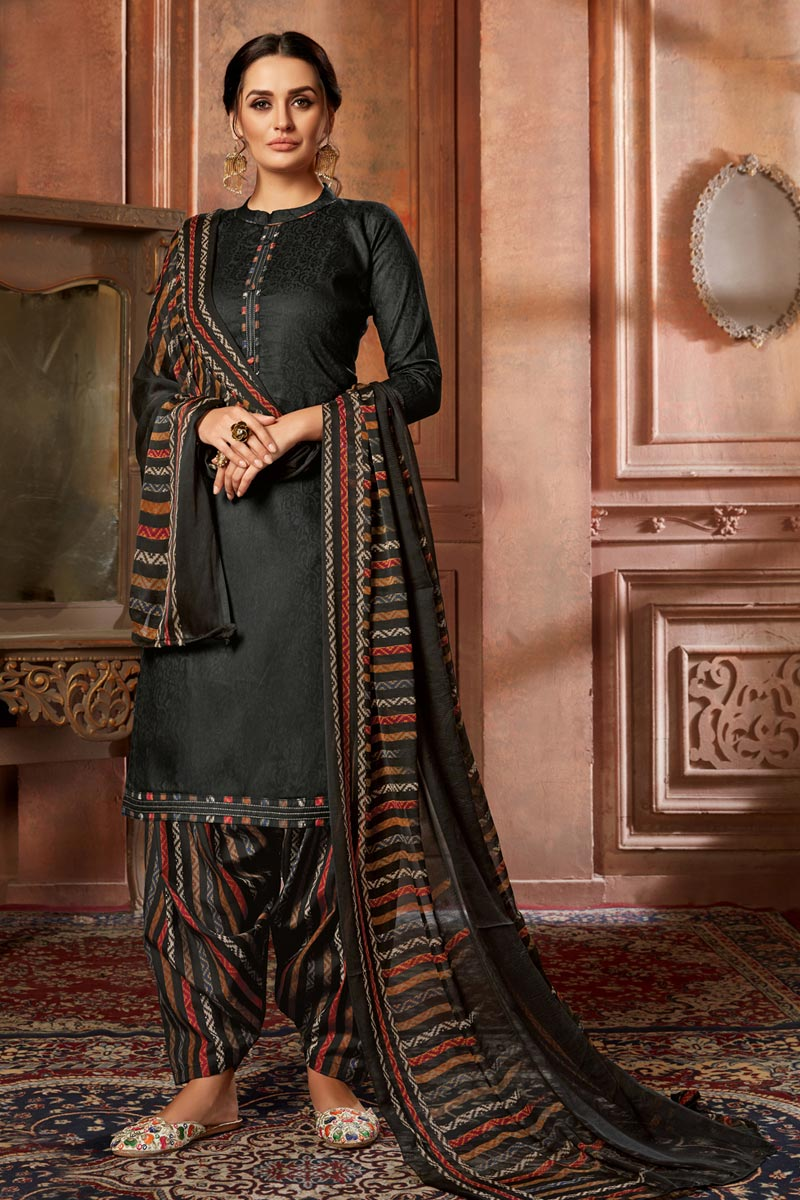 Fancy Black Color Casual Wear Printed Jacquard Fabric Patiala Suit