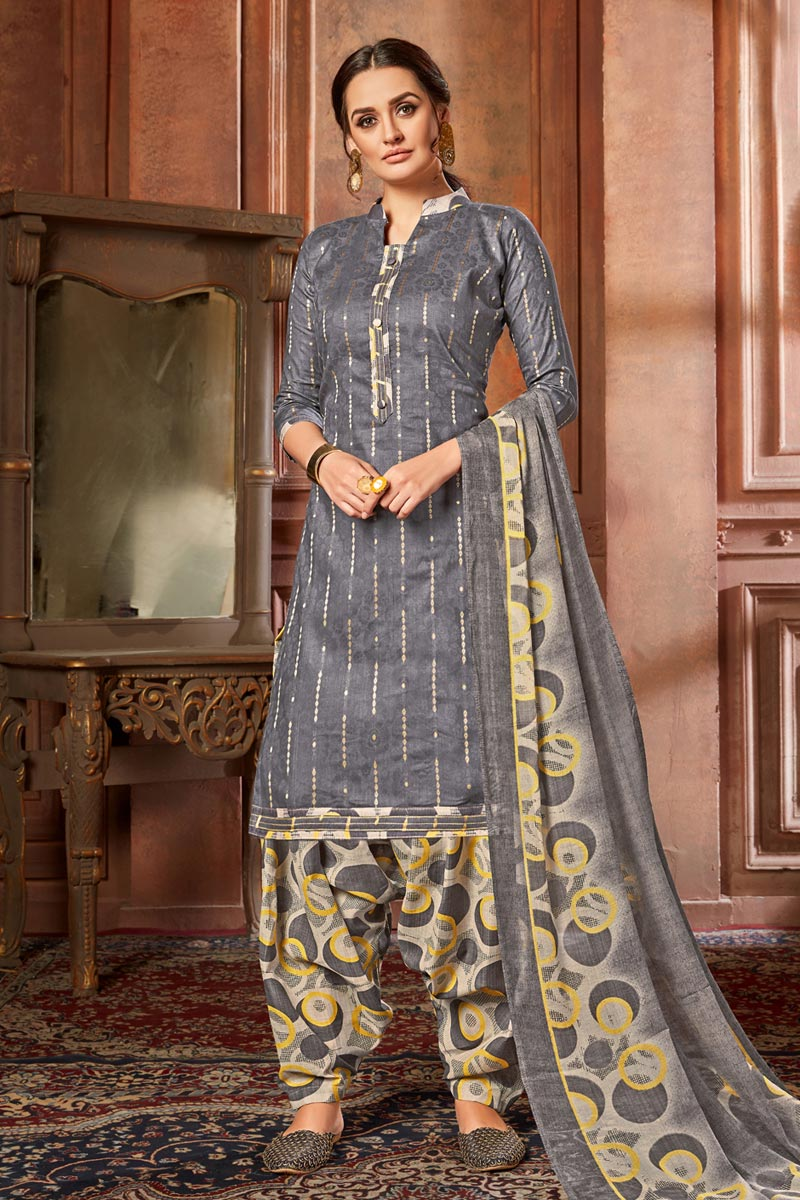 Grey Color Casual Wear Fancy Printed Jacquard Fabric Patiala Dress