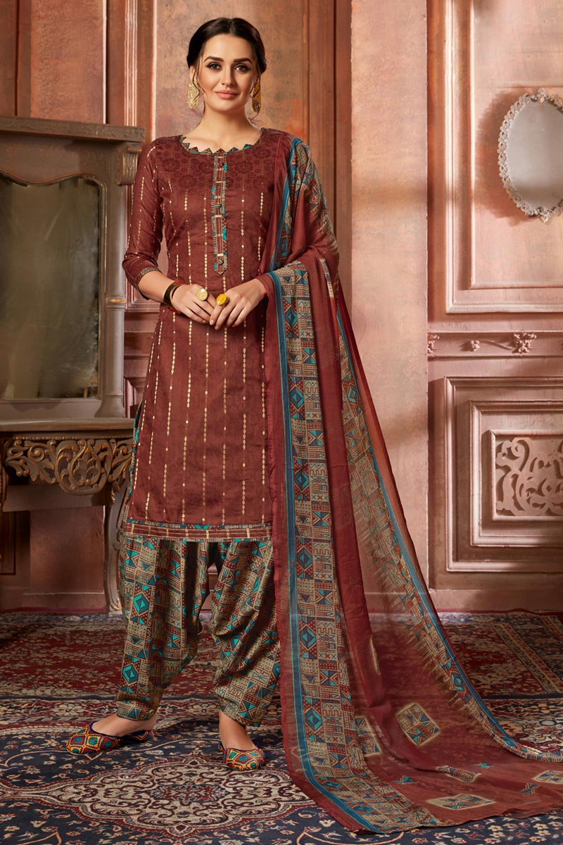 Fancy Jacquard Fabric Casual Wear Maroon Color Printed Patiala Suit