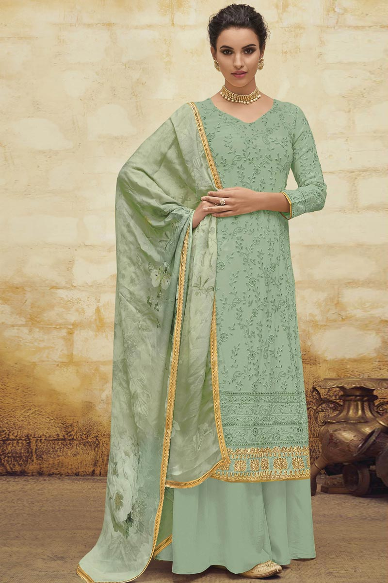 Sea Green Color Festive Wear Designer Embroidered Palazzo Dress In Georgette Fabric