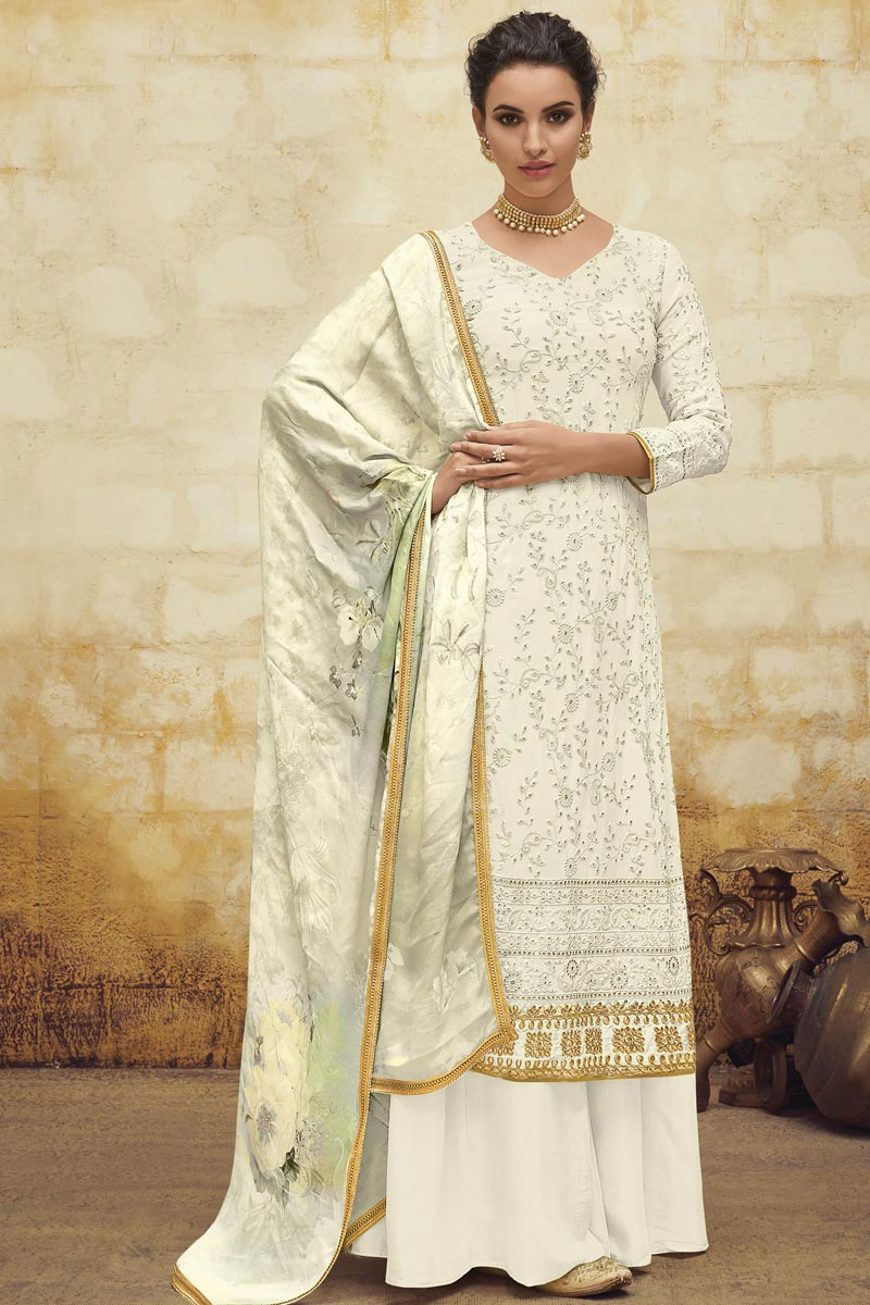 Festive Wear Georgette Fabric Designer Embroidered Palazzo Dress In Off White Color