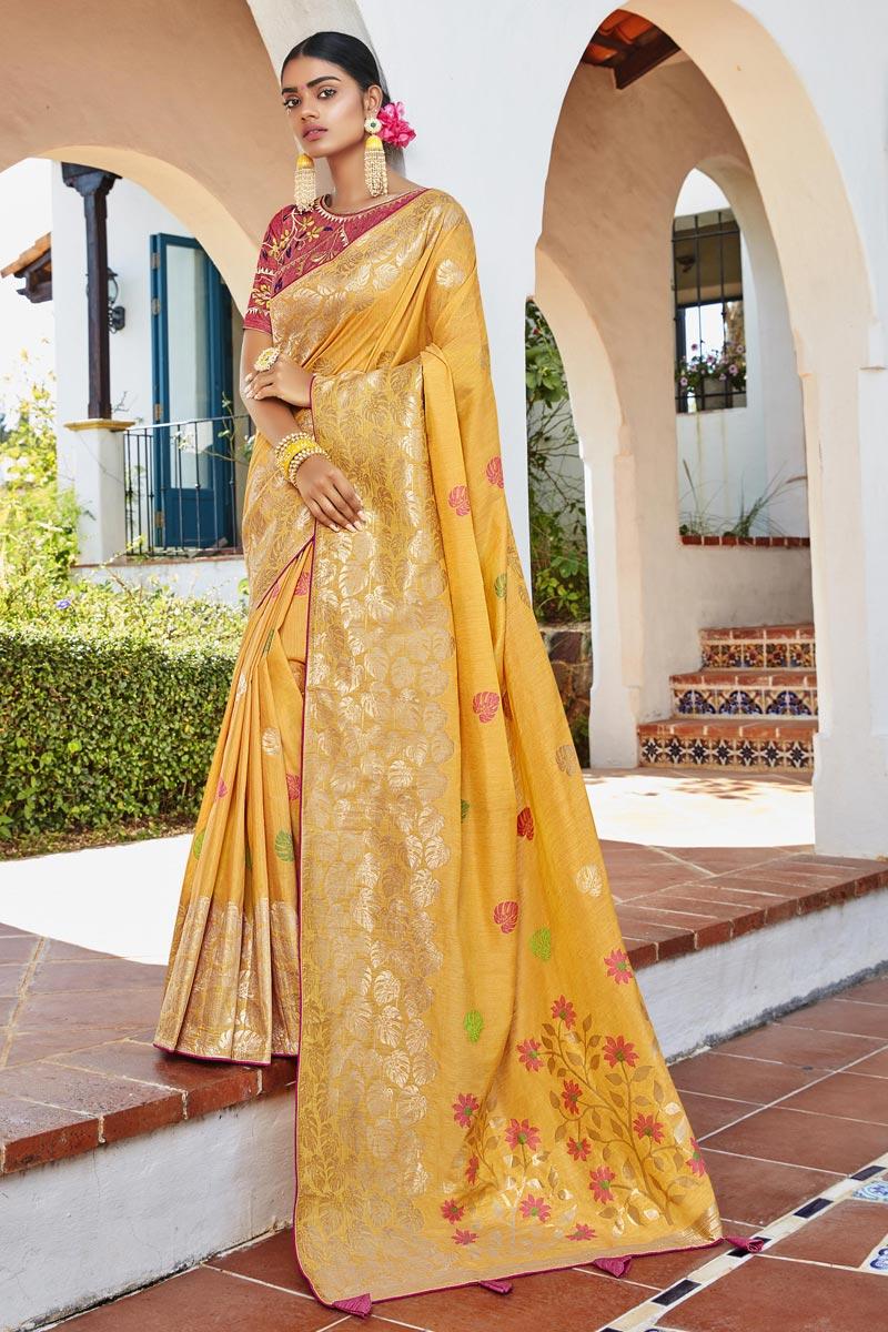 Jacquard Silk Fabric Puja Wear Yellow Color Trendy Weaving Work Saree