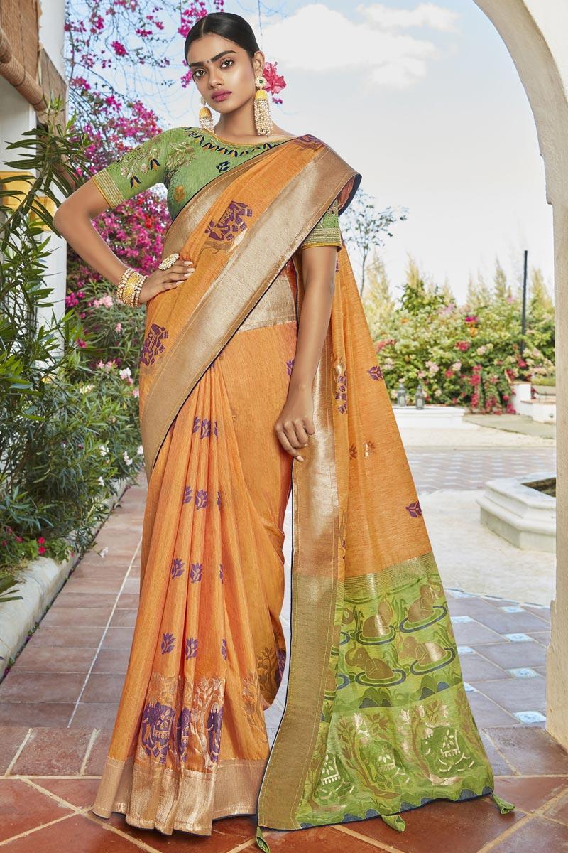 Orange Color Puja Wear Trendy Weaving Work Saree In Jacquard Silk Fabric