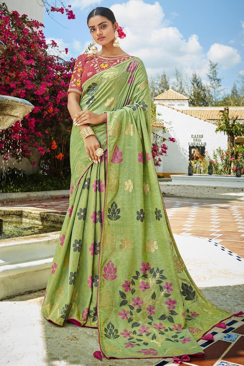 Jacquard Silk Fabric Puja Wear Trendy Sea Green Color Weaving Work Saree