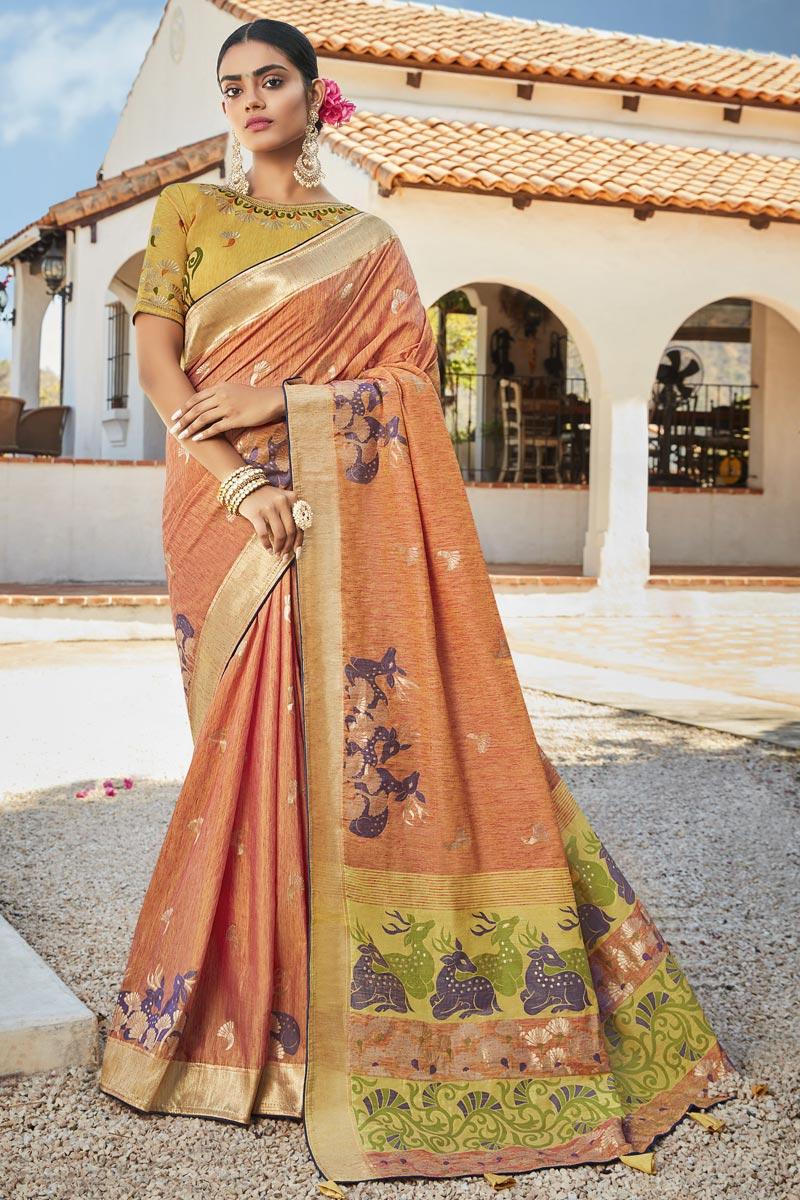 Orange Color Puja Wear Trendy Jacquard Silk Fabric Weaving Work Saree