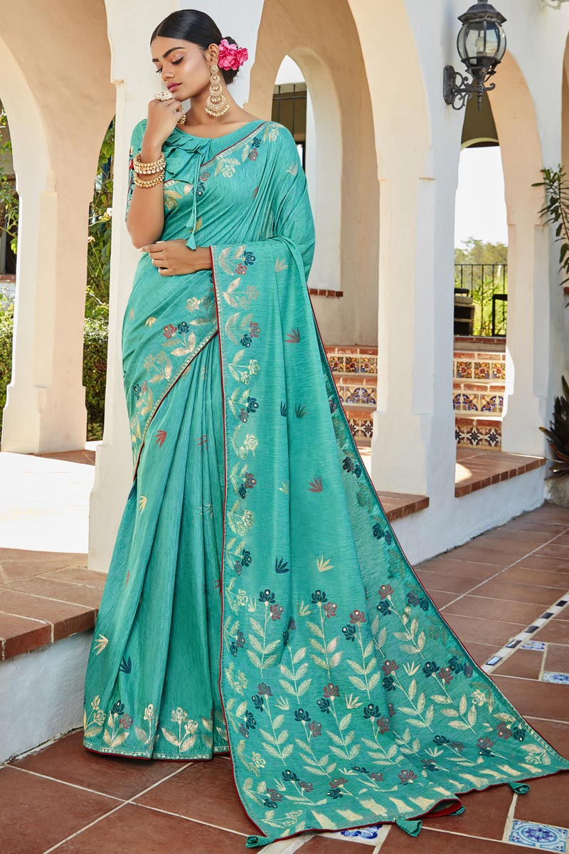 Trendy Jacquard Silk Fabric Puja Wear Cyan Color Weaving Work Saree