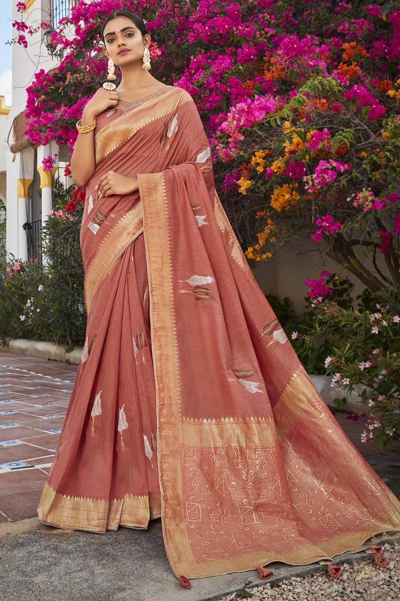 Jacquard Silk Fabric Puja Wear Trendy Weaving Work Saree In Rust Color