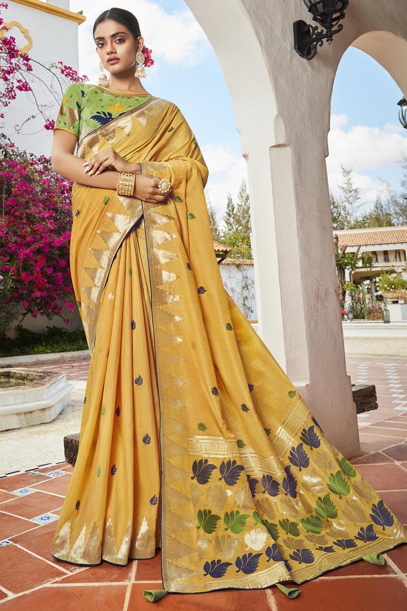 Yellow Color Trendy Jacquard Silk Fabric Puja Wear Weaving Work Saree
