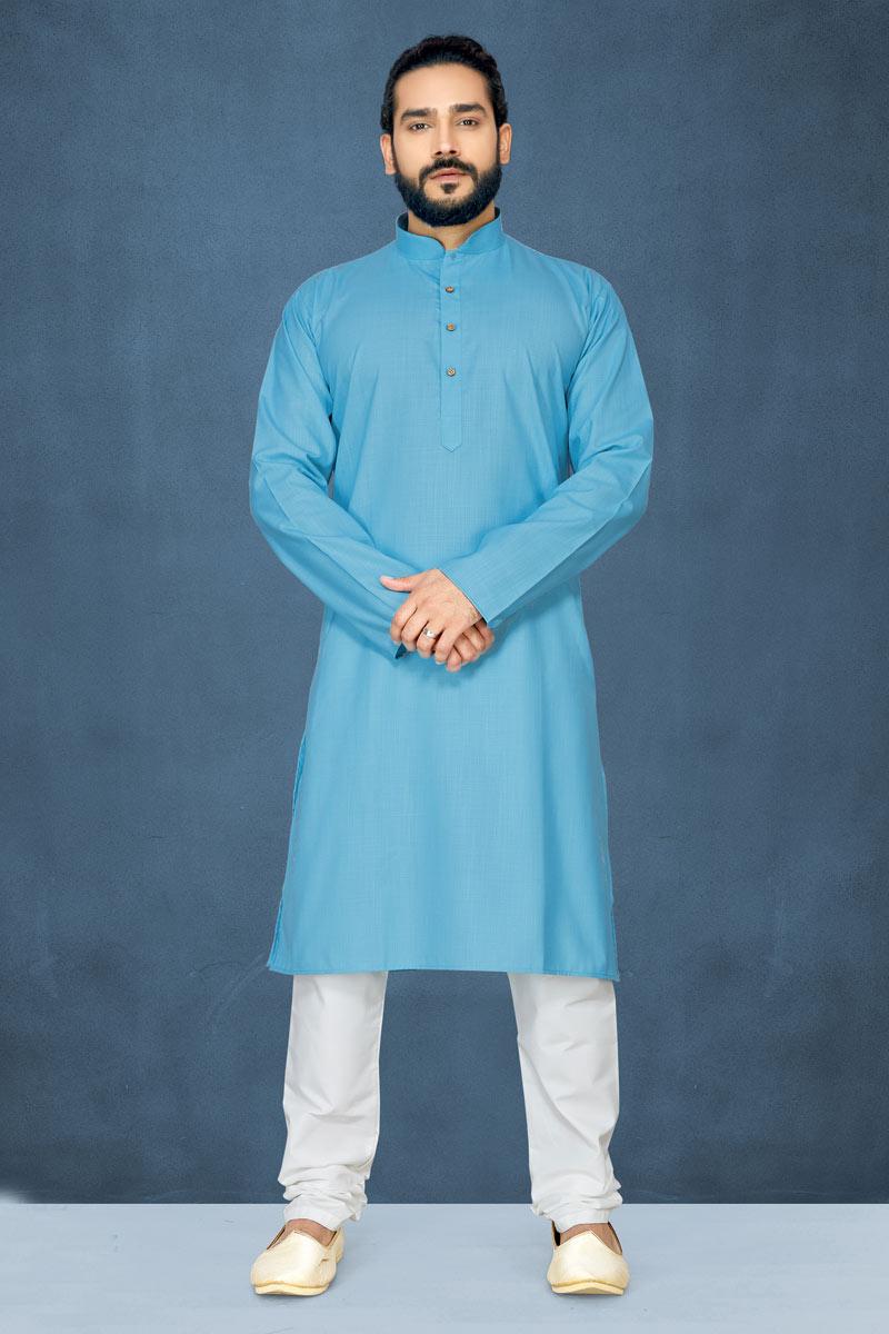 Mens Function Wear Fancy Cotton Kurta Pyjama In Sky Blue Color