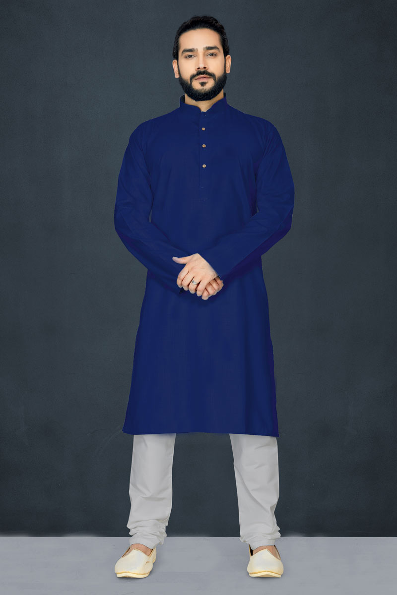 Function Wear Cotton Fabric Kurta Pyjama In Navy Blue Color For Men