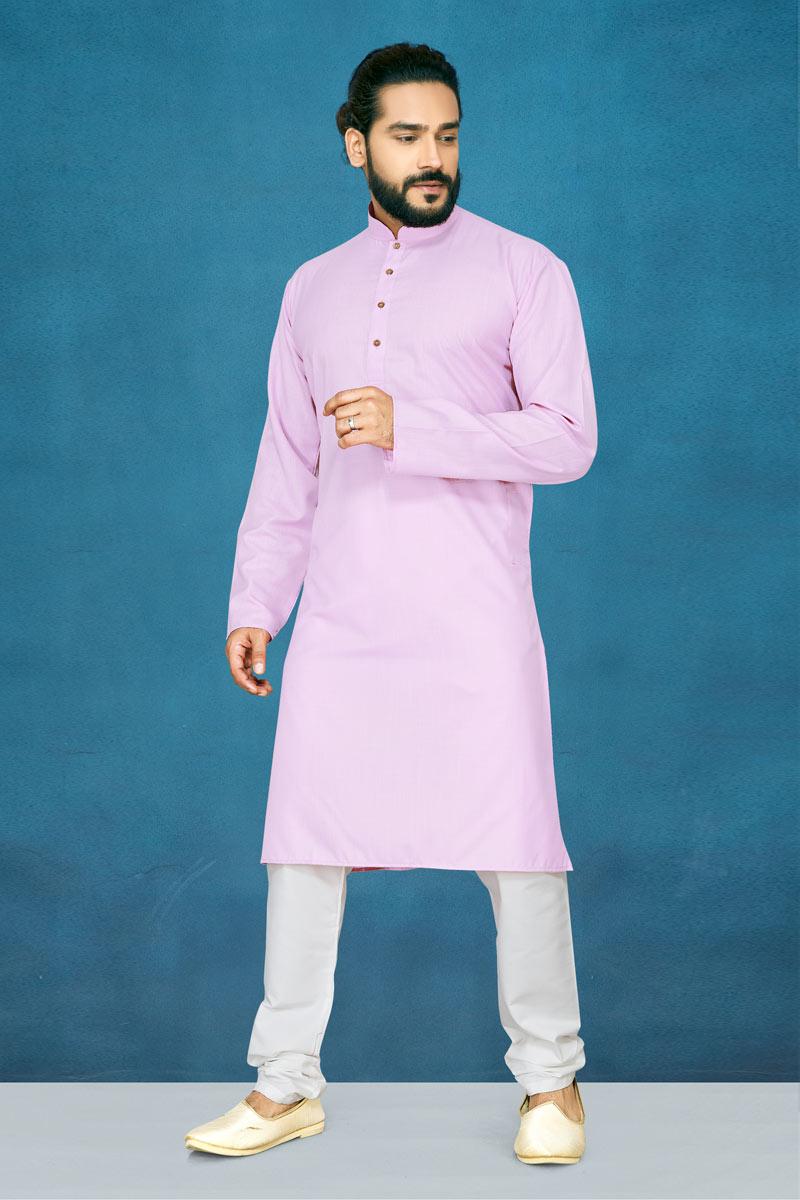 Mens Function Wear Cotton Fabric Pink Color Kurta Pyjama