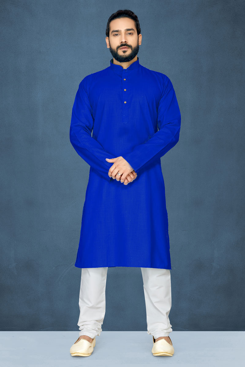 Function Wear Cotton Fabric Kurta Pyjama In Blue Color For Men