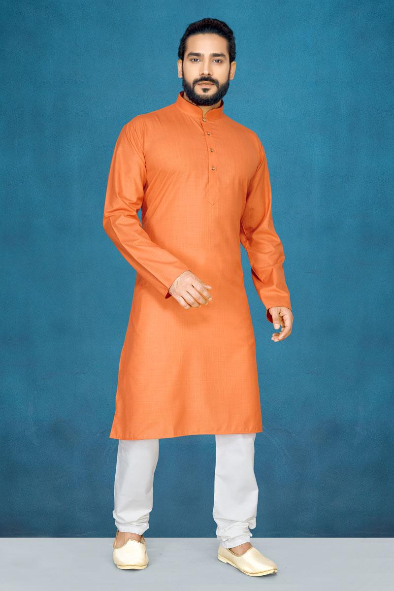 Rust Color Mens Wear Kurta Pyjama In Cotton Fabric