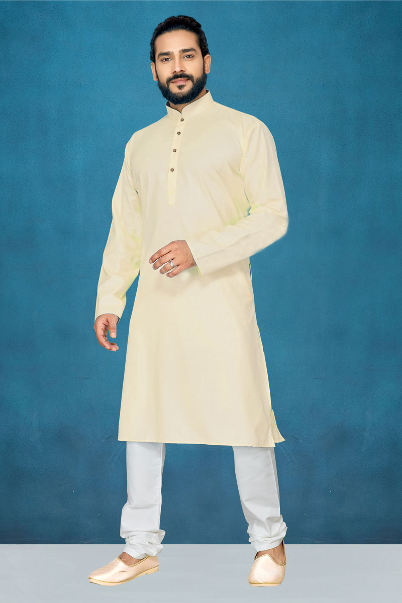 Mens Function Wear Cream Color Kurta Pyjama In Cotton Fabric