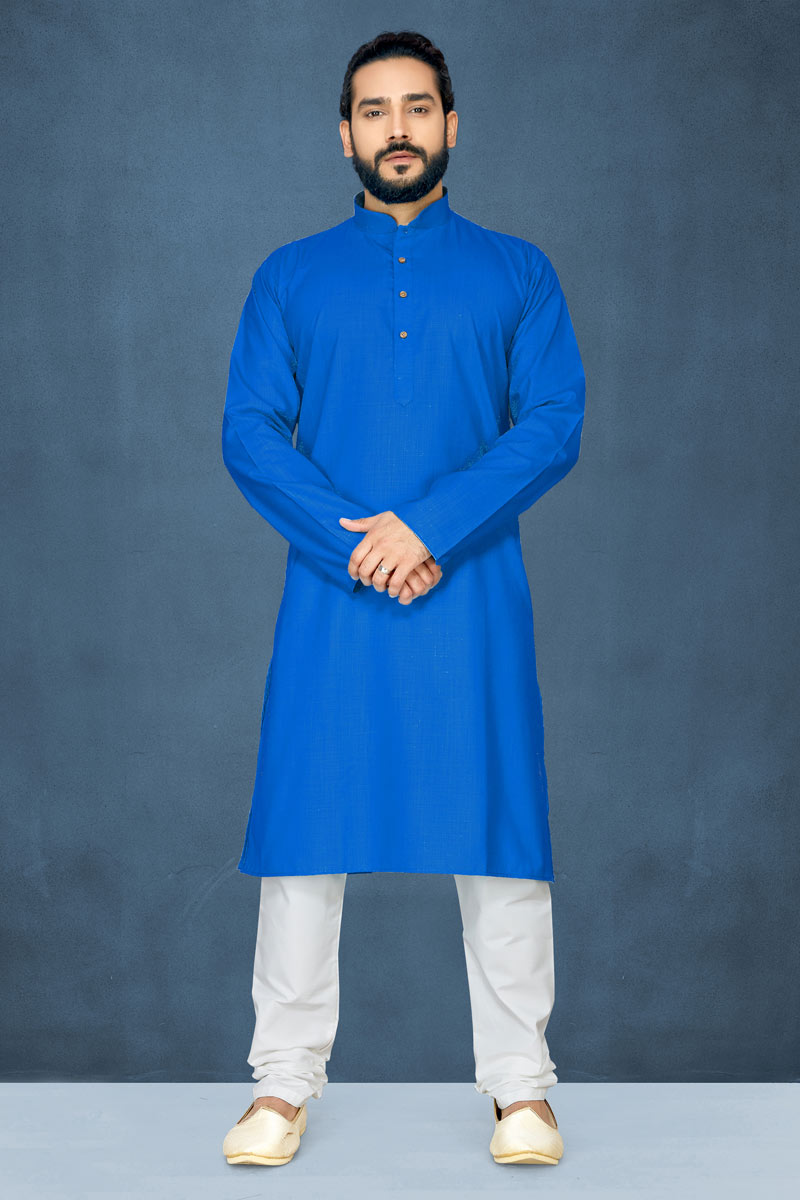 Sky Blue Color Mens Wear Kurta Pyjama In Cotton Fabric