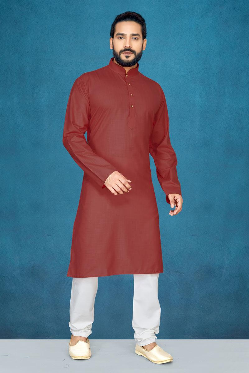 Brown Color Mens Wear Kurta Pyjama In Cotton Fabric