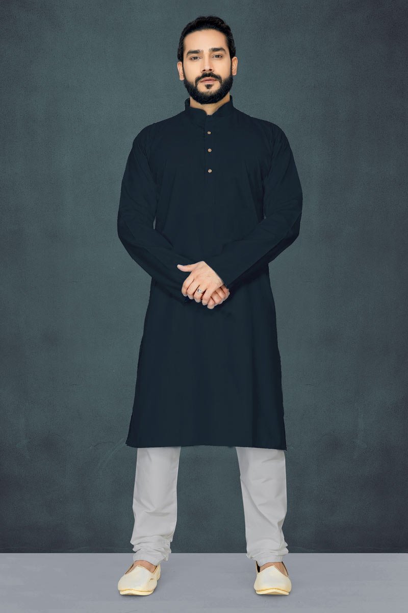 Festive Wear Cotton Mens Kurta Pyjama In Black Color