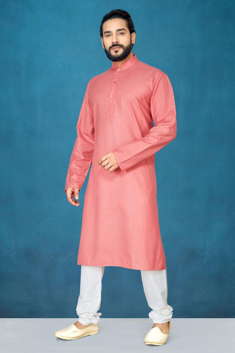 Cotton Fabric Peach Color Function Wear Kurta Pyjama For Men