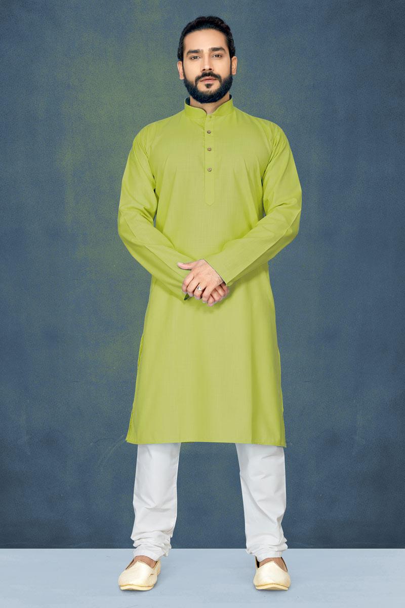 Green Color Mens Function Wear Kurta Pyjama In Cotton Fabric