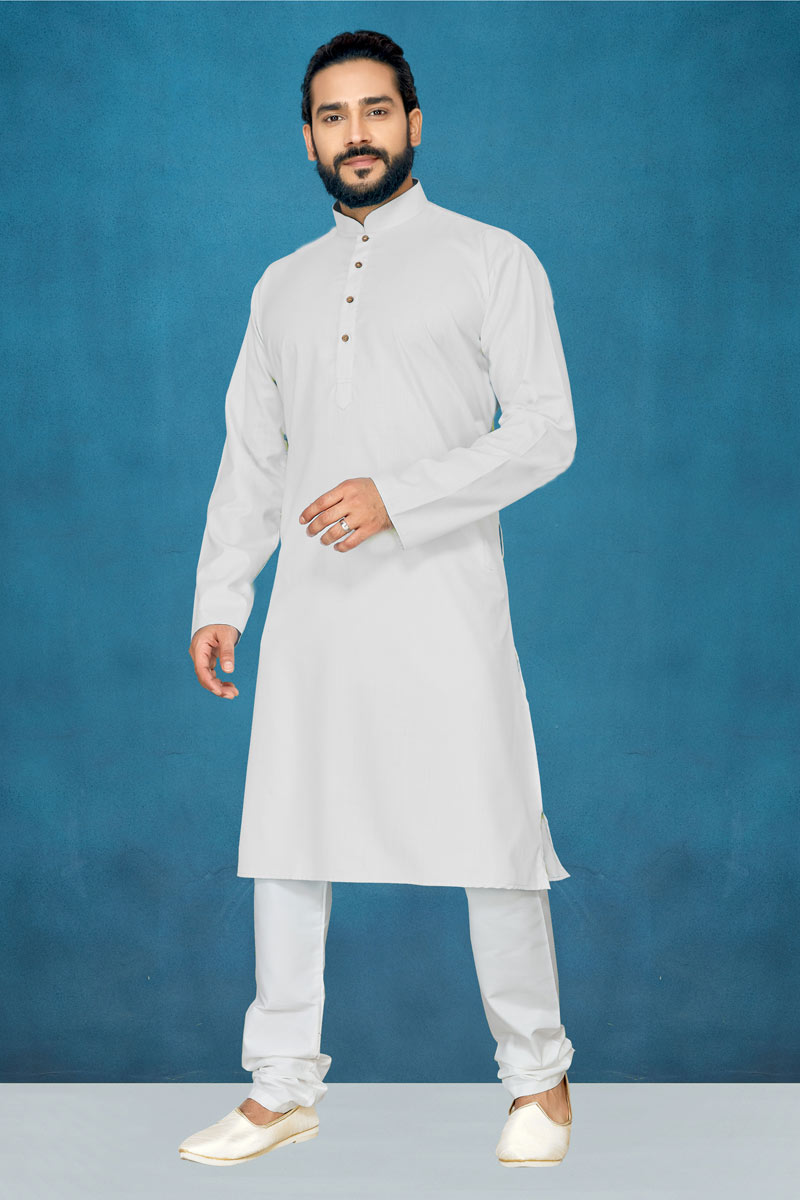 White Color Cotton Fabric Occasion Wear Kurta Pyjama For Men