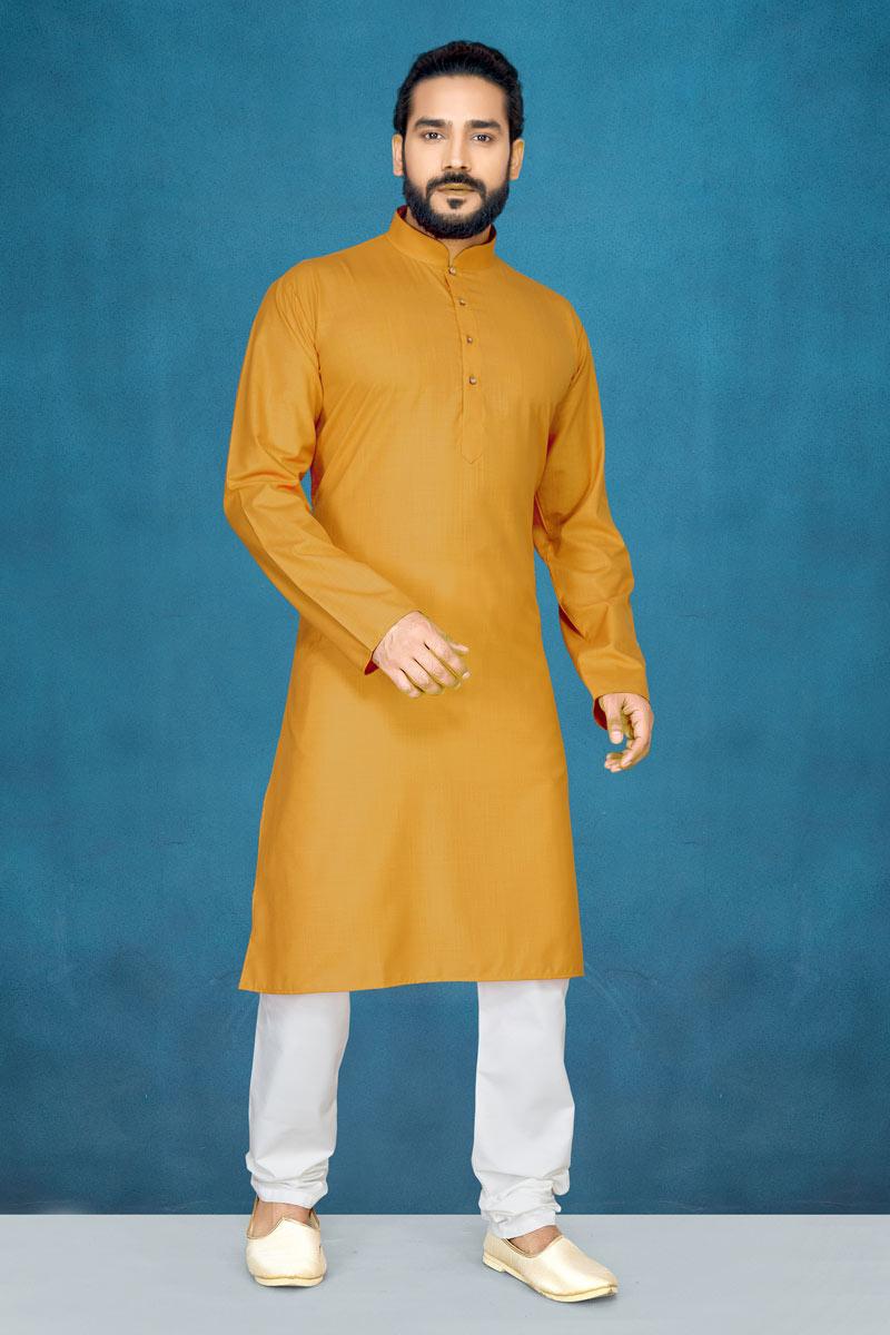 Orange Color Sangeet Wear Fancy Cotton Mens Kurta Pyjama