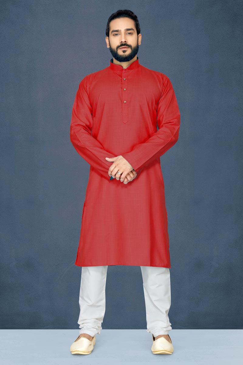 Mens Festive Wear Kurta Pyjama In Cotton Fabric