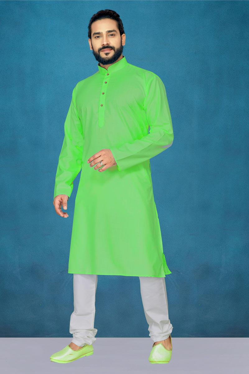 Cotton Fabric Green Color Function Wear Kurta Pyjama For Men