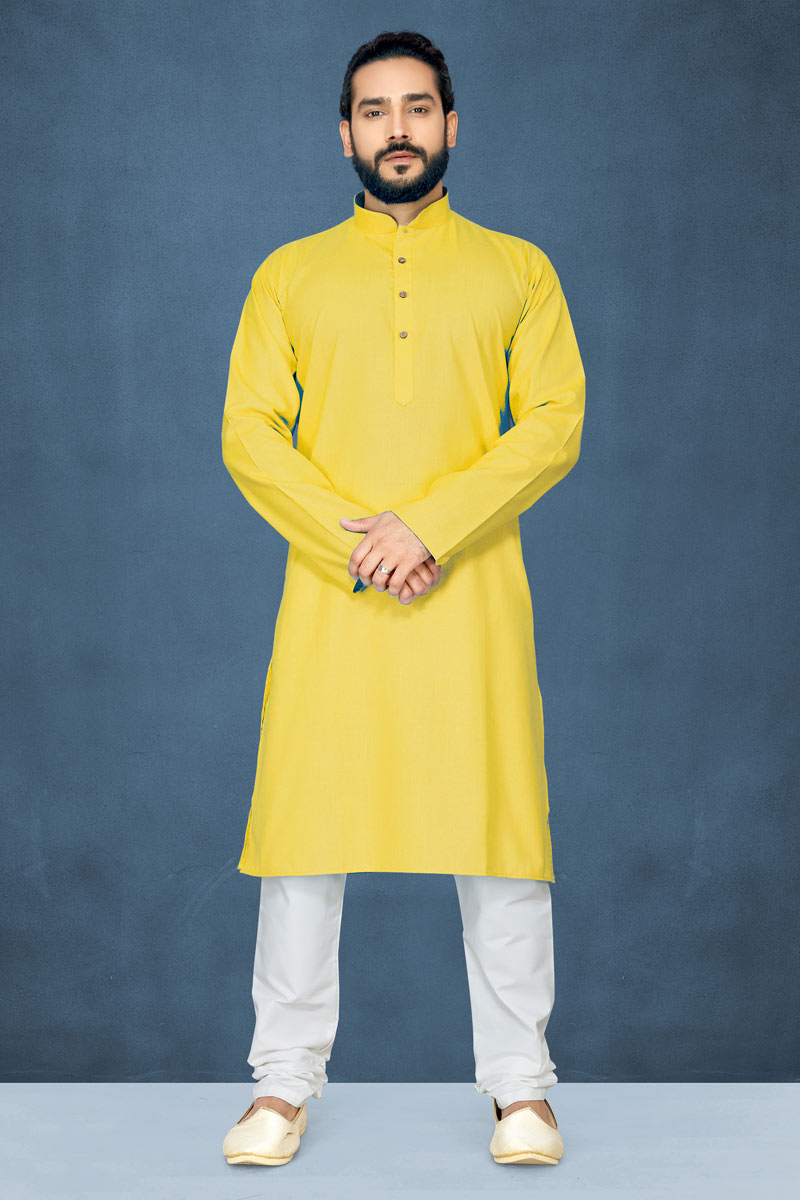 Yellow Color Mens Function Wear Kurta Pyjama In Cotton Fabric
