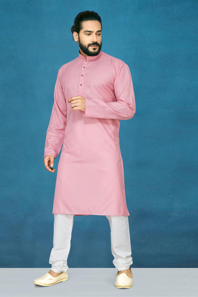 Cotton Fabric Pink Color Function Wear Kurta Pyjama For Men