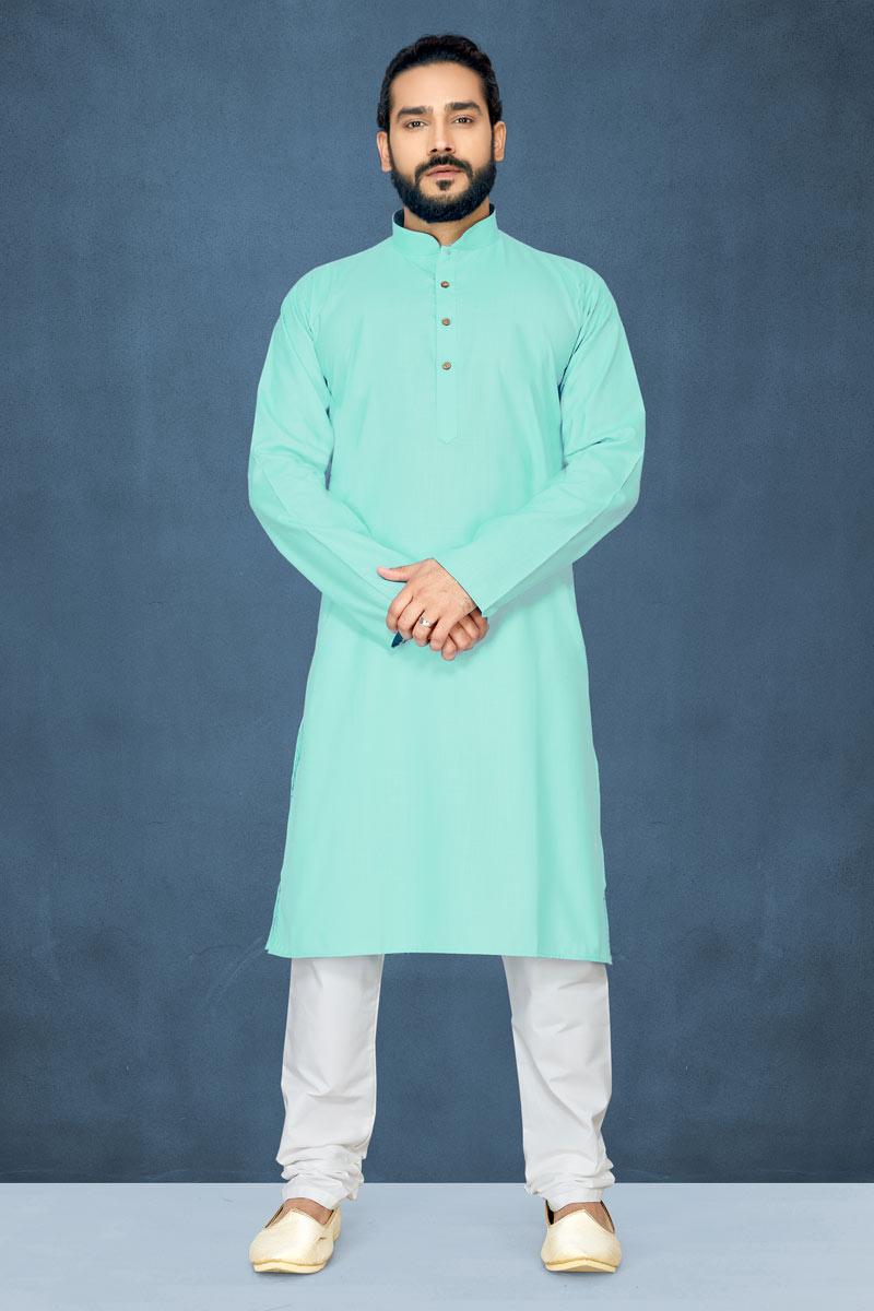 Light Cyan Color Cotton Fabric Occasion Wear Kurta Pyjama For Men