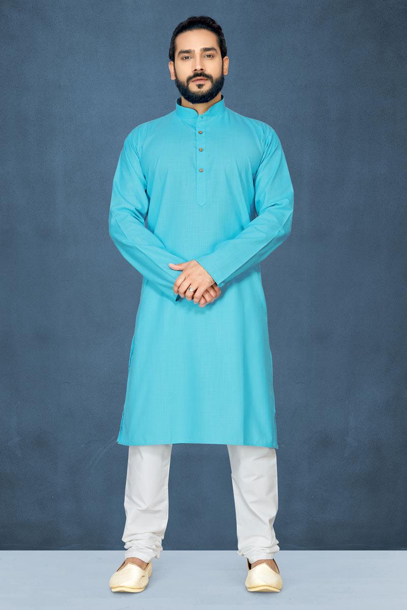 Cyan Color Cotton Fabric Mens Kurta Pyjama