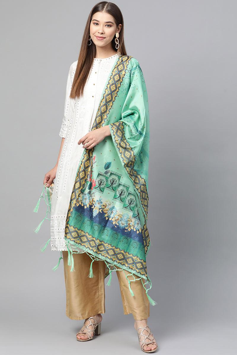 Function Wear Fancy Art Silk Fabric Dupatta In Sea Green Color