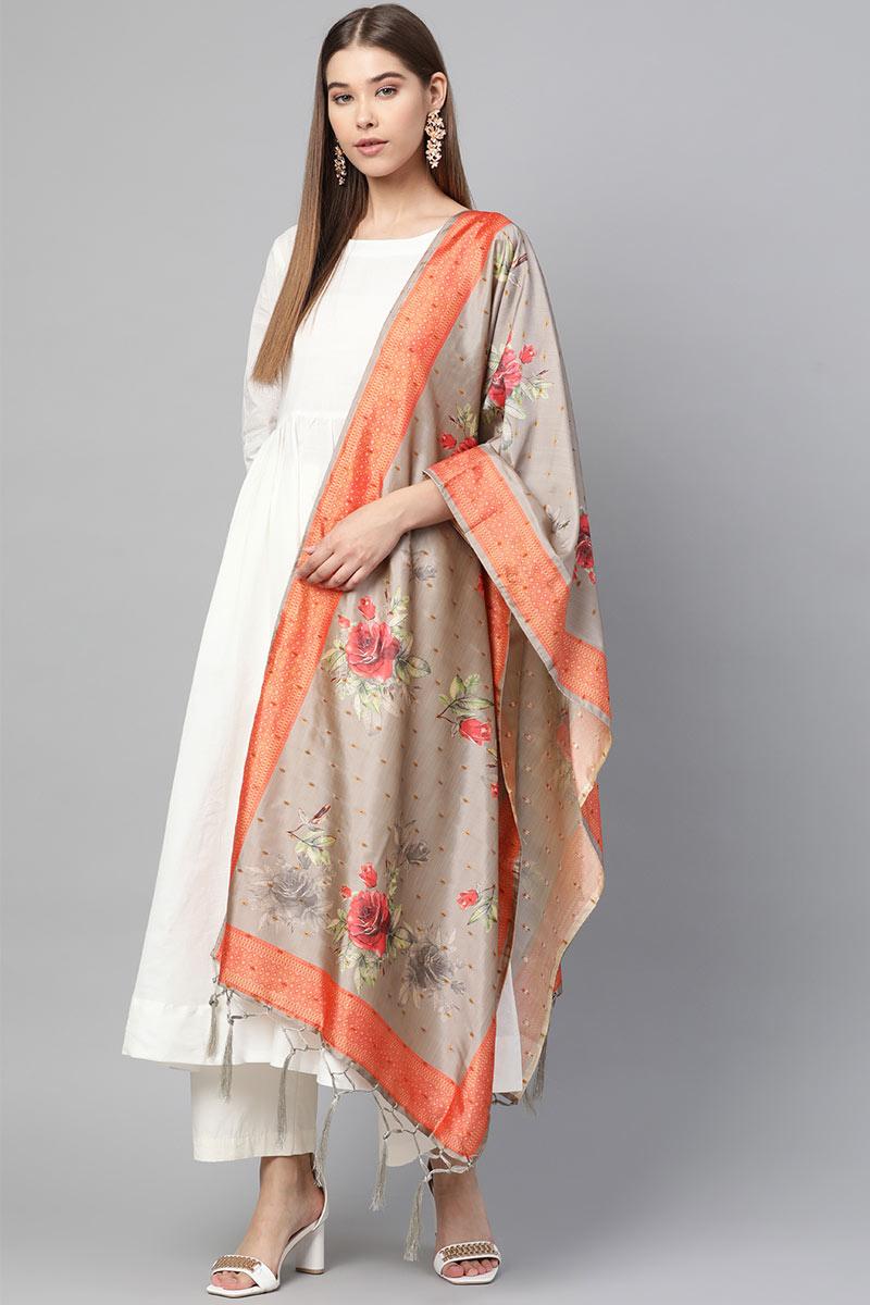 Wedding Wear Dupatta In Dark Beige Color Art Silk Fabric
