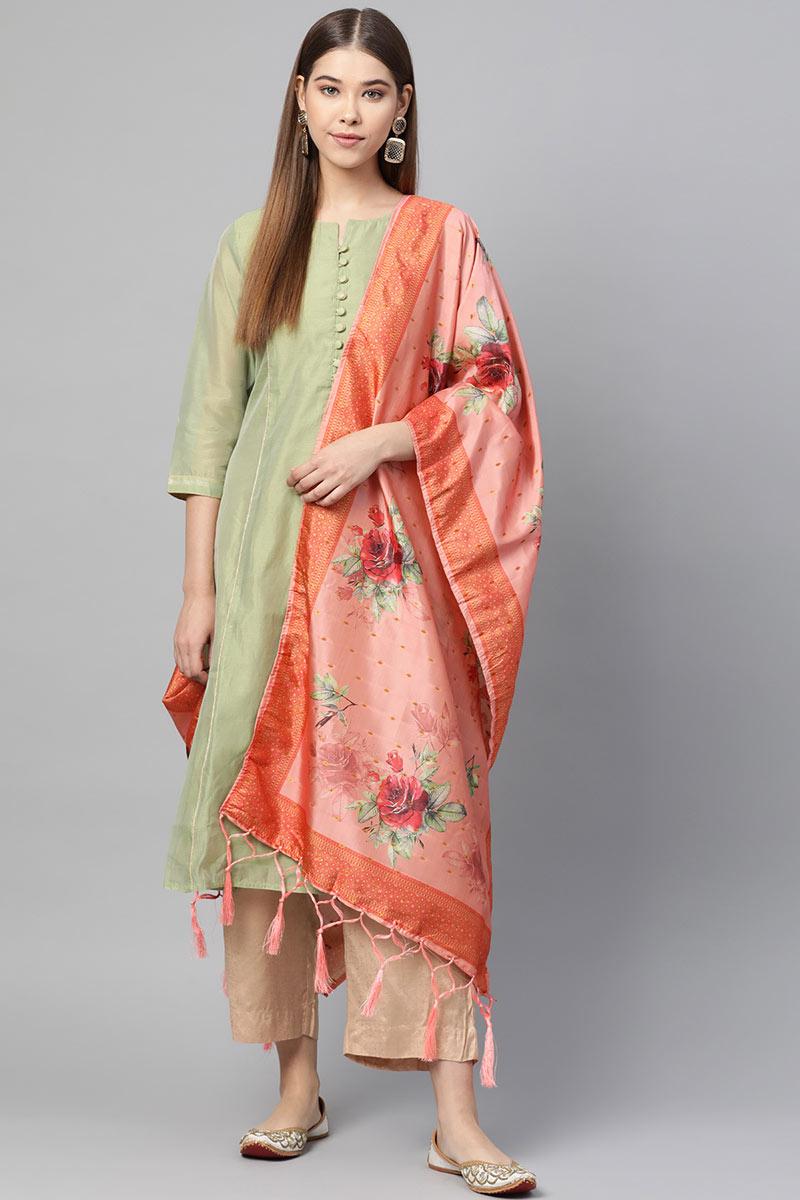 Art Silk Fabric Wedding Function Wear Dupatta In Peach Color