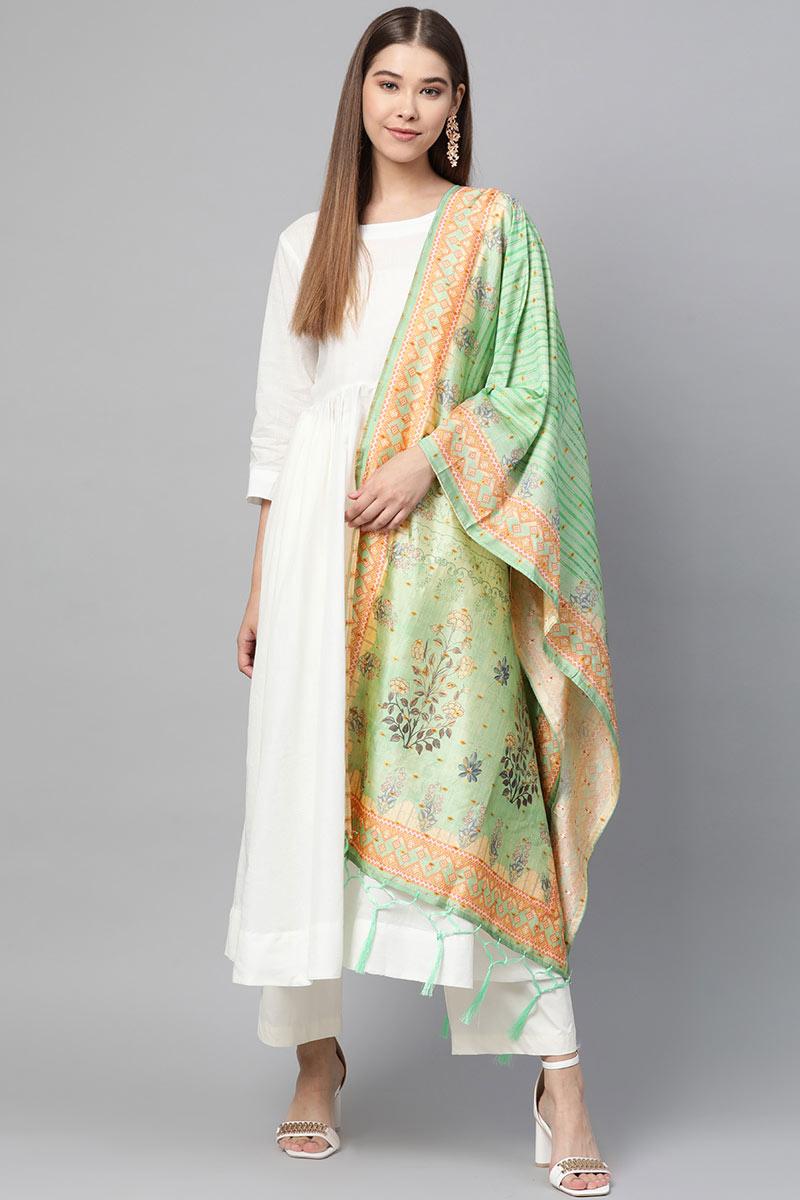 Sea Green Color Function Wear Fancy Dupatta In Art Silk Fabric
