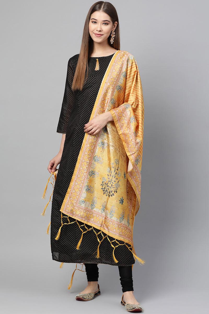 Wedding Wear Fancy Art Silk Fabric Dupatta In Mustard Color