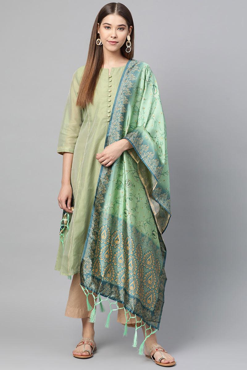 Sea Green Color Wedding Function Wear Art Silk Fabric Dupatta