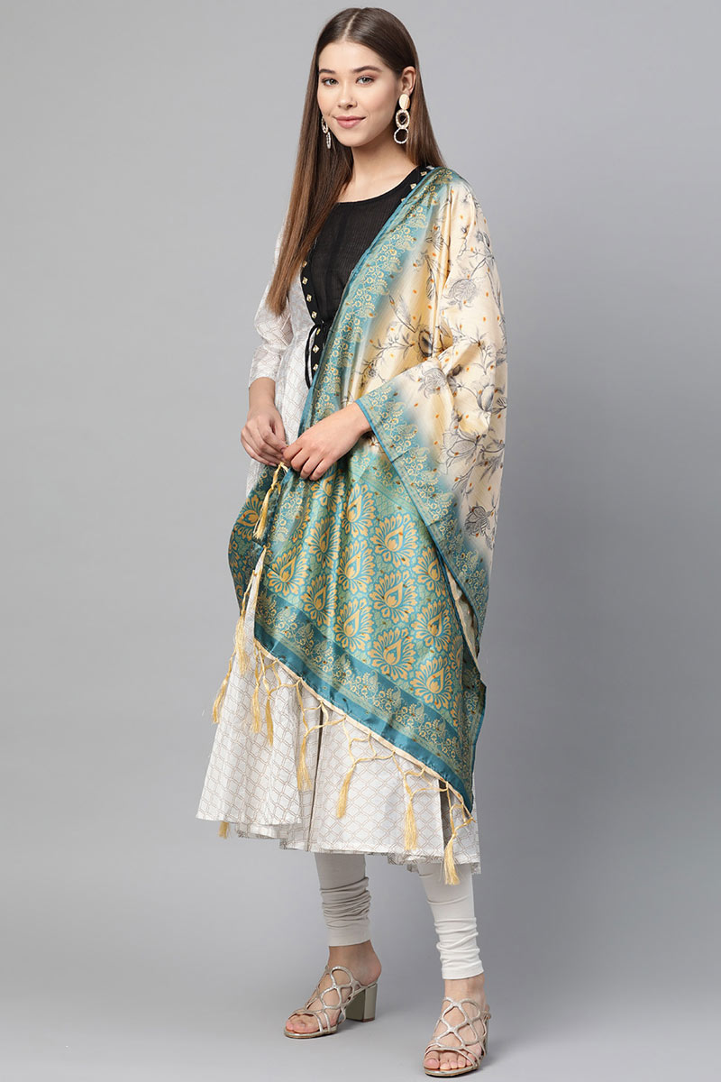 Function Wear Fancy Art Silk Fabric Dupatta In Cream Color