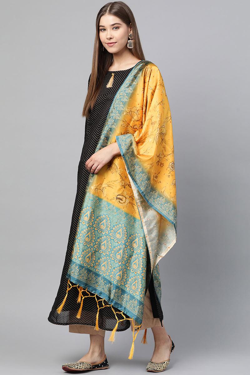 Mustard Color Fancy Art Silk Fabric Dupatta For Functions